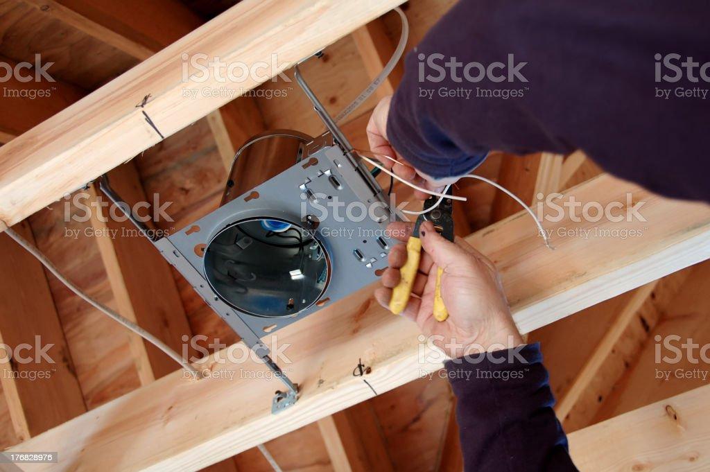 Installing Light Box stock photo