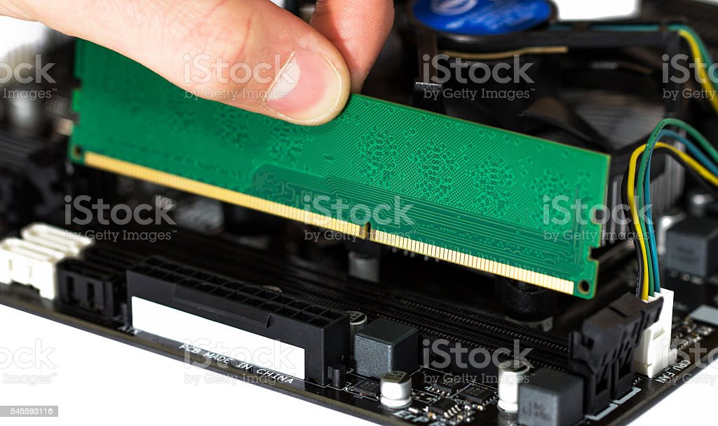 Installing module of RAM stock photo