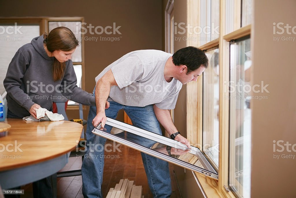 Installing New Energy Efficient Windows stock photo