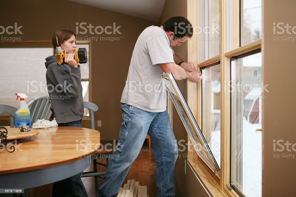Installing New Energy Efficient Windows royalty-free stock photo
