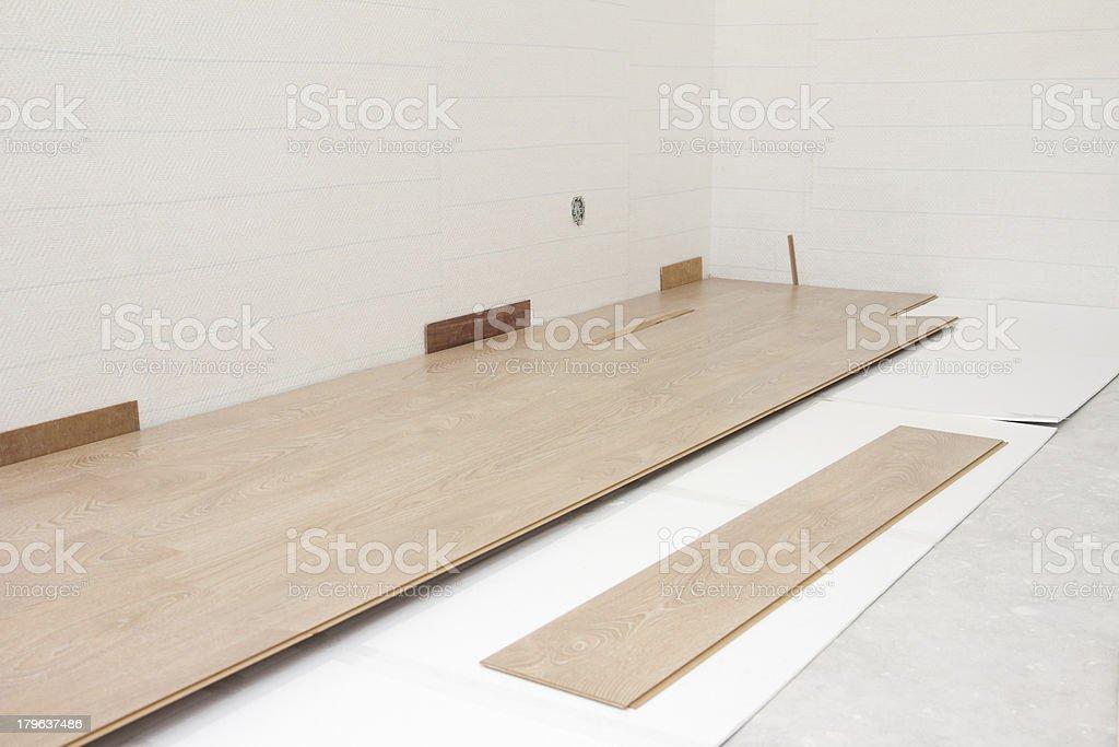 Installing New Laminate Floor royalty-free stock photo