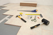 Installing New Laminate Wood Flooring Abstract, text for copy sp