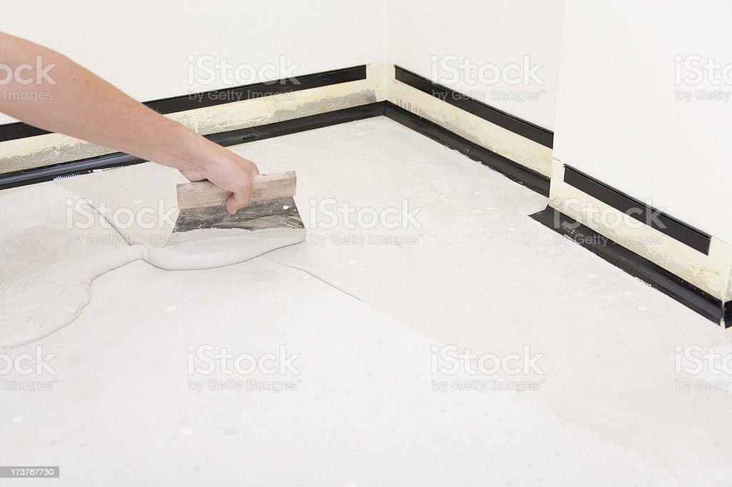 Installing parquet  floor royalty-free stock photo