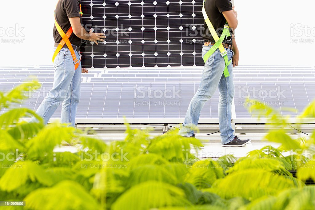 Installing photovoltaic panels royalty-free stock photo
