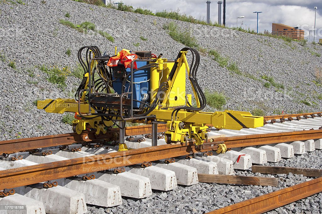 Installing railroad rails royalty-free stock photo