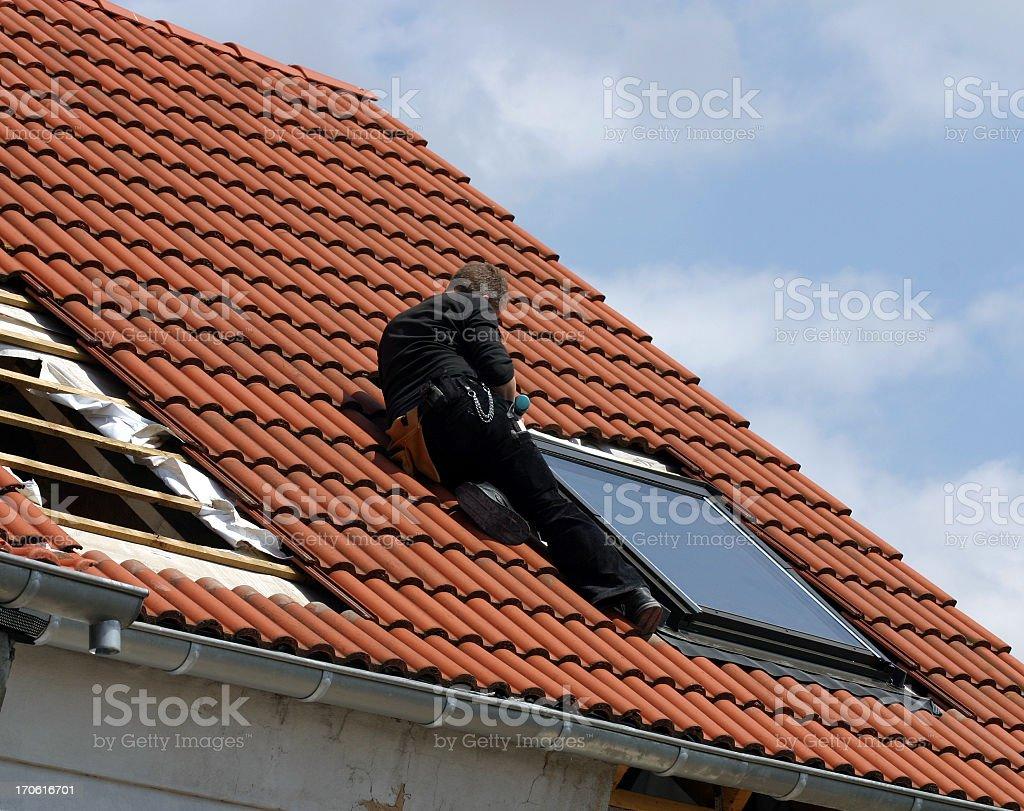 Installing roof windows royalty-free stock photo
