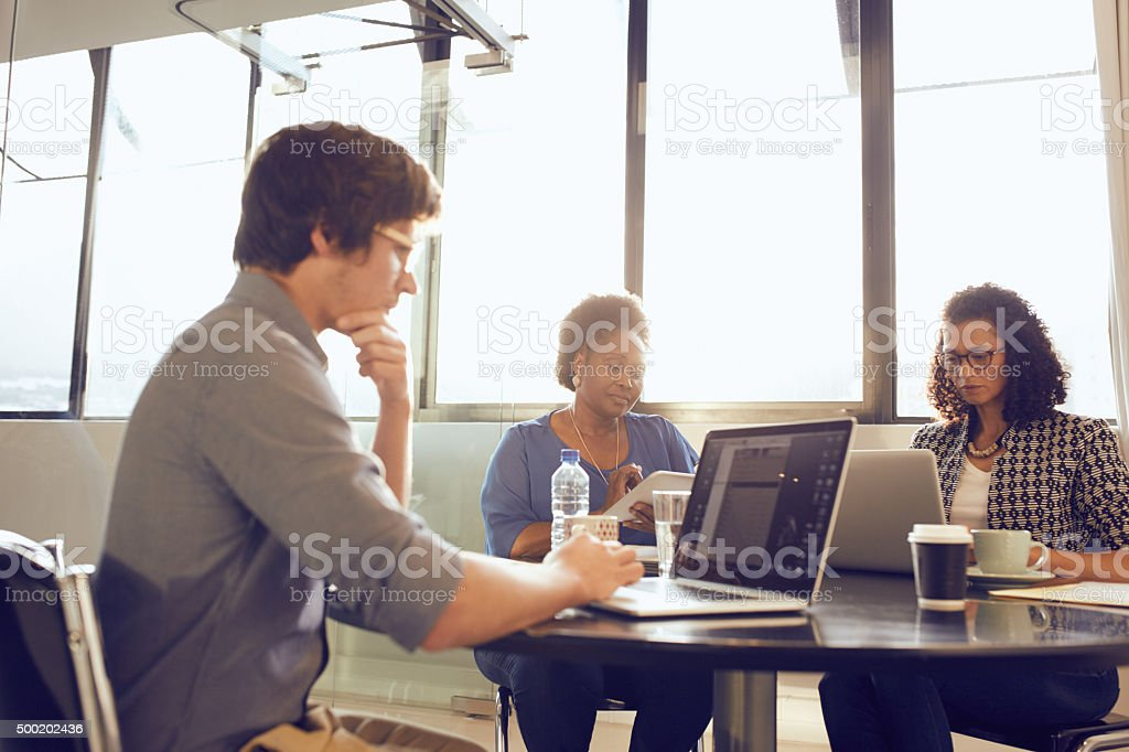 Installing the latest software for the betterment of business stock photo