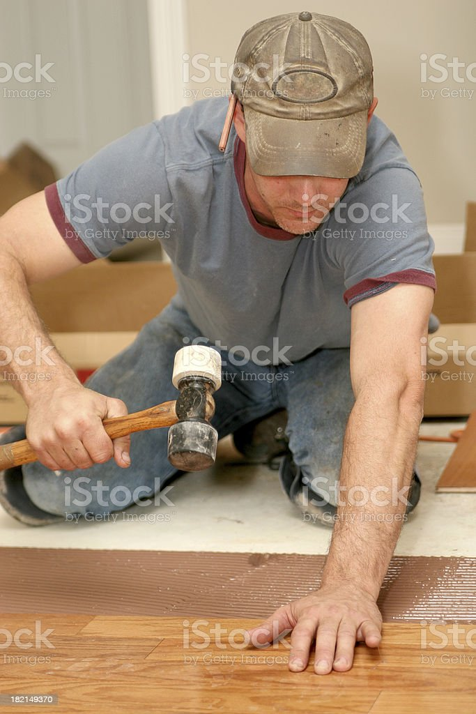 Installing wood floor 10. royalty-free stock photo