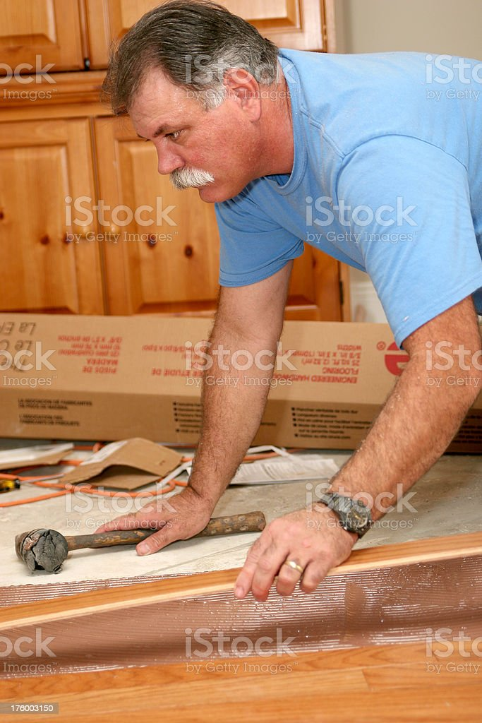 Installing wood floor 8. royalty-free stock photo