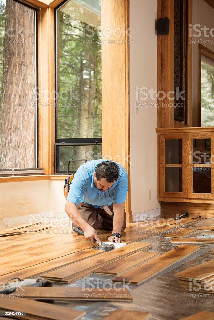 Installing Wood Flooring stock photo