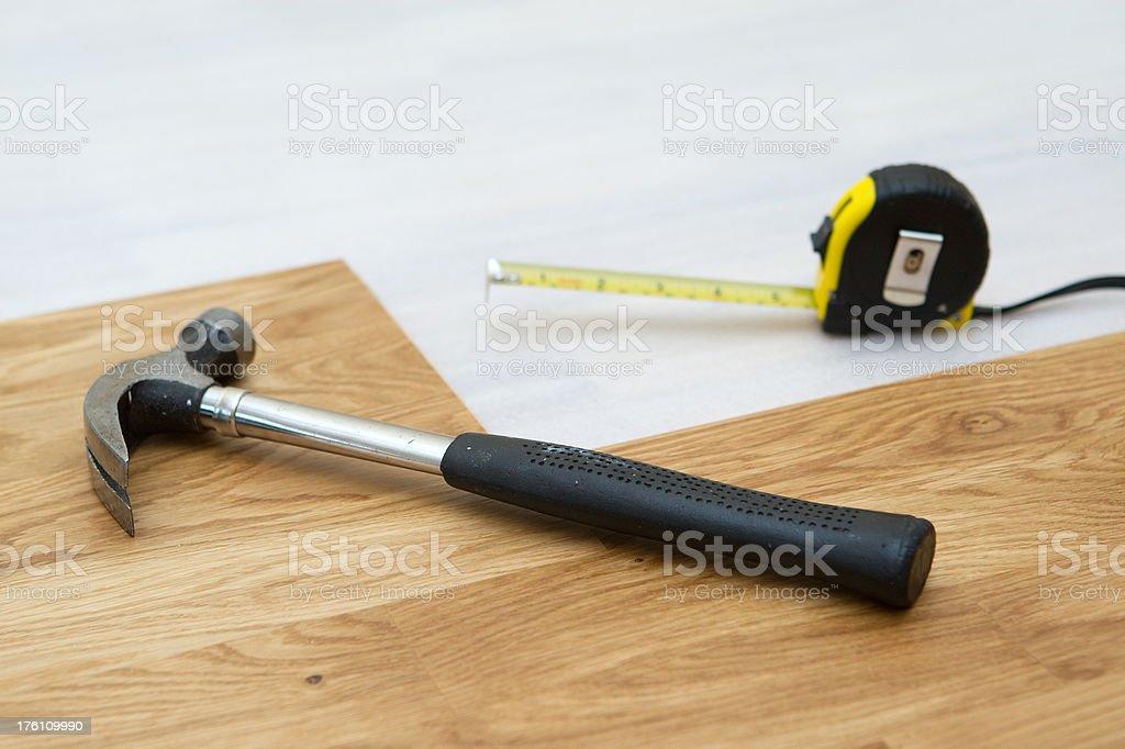 Installing wooden floor royalty-free stock photo