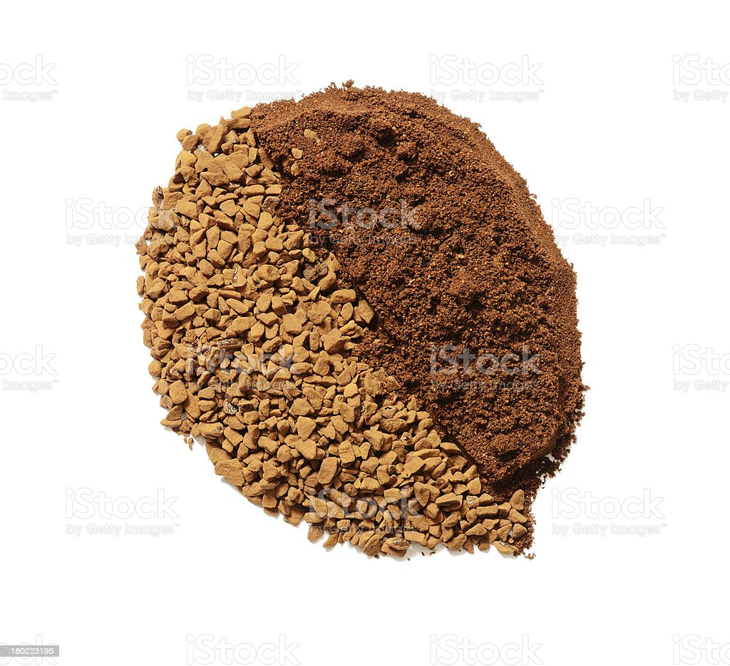 Instant and ground coffee in the form of grain royalty-free stock photo