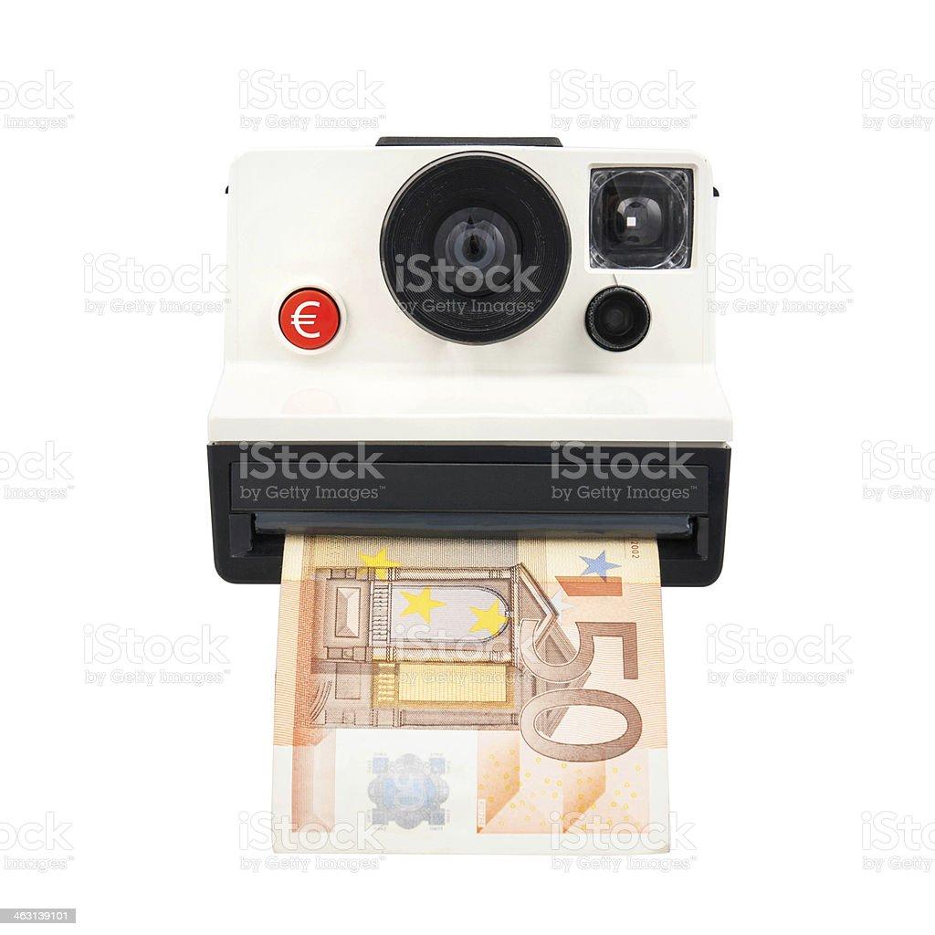 Instant cash camera stock photo