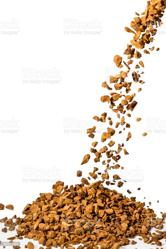 Instant Coffee Granules Pouring Down stock photo