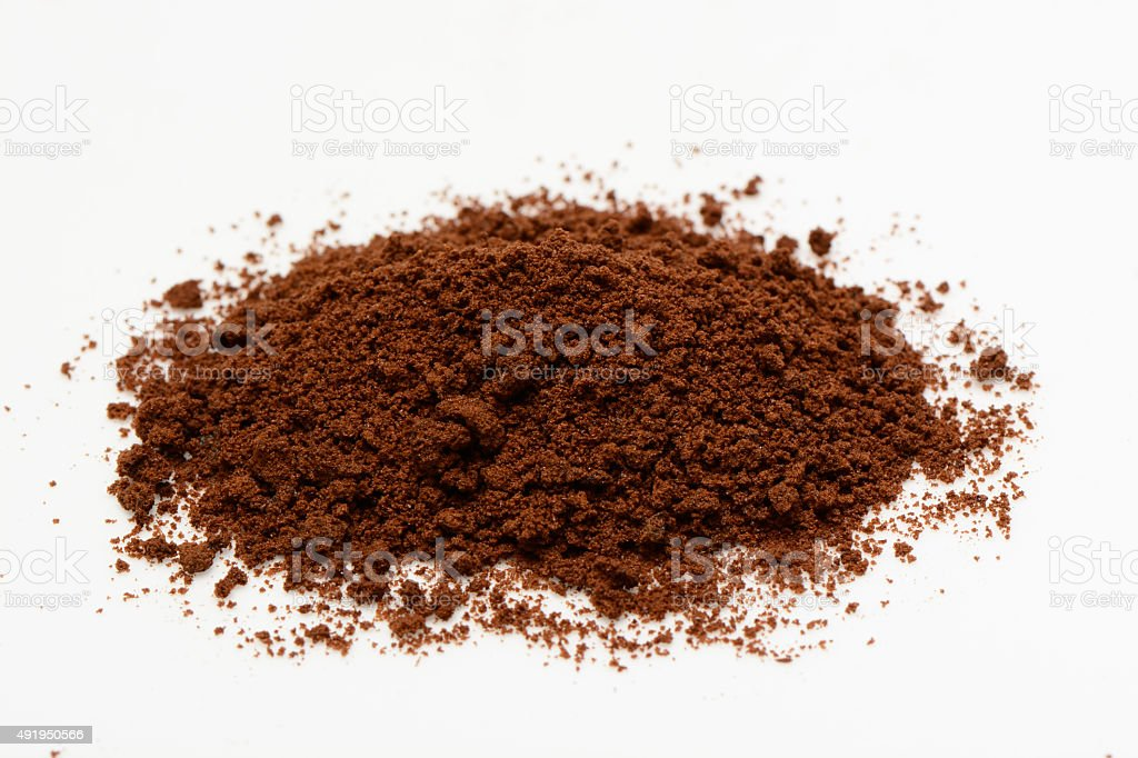 Instant coffee in a spoon stock photo