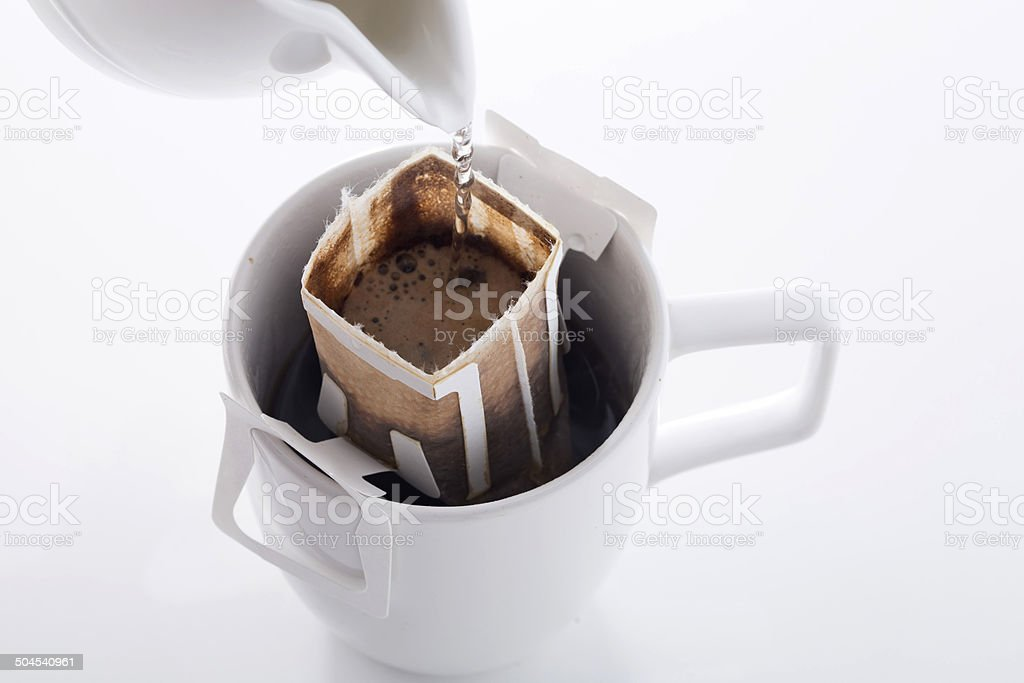 Instant freshly brewed cup of coffee stock photo