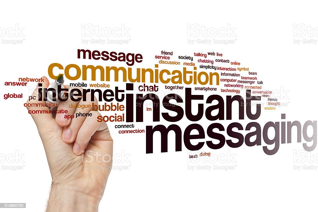 Instant messaging word cloud stock photo