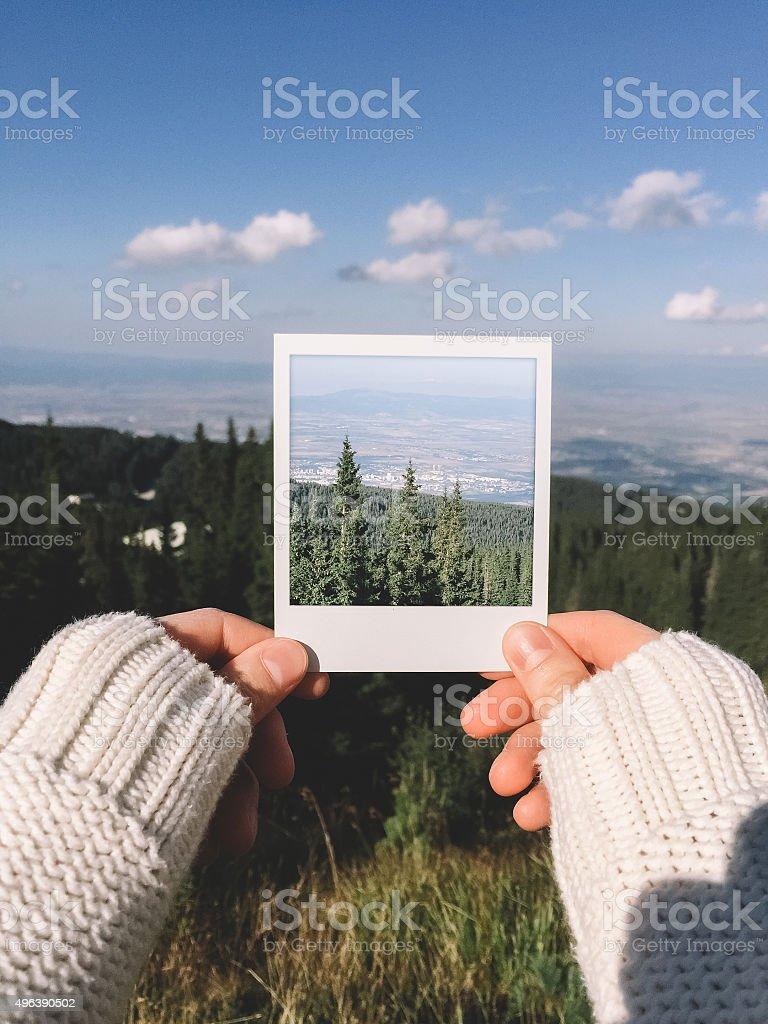 Instant photo of mountains stock photo