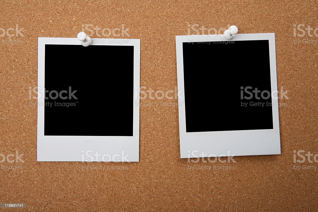 Instant prints on Cork Board royalty-free stock photo