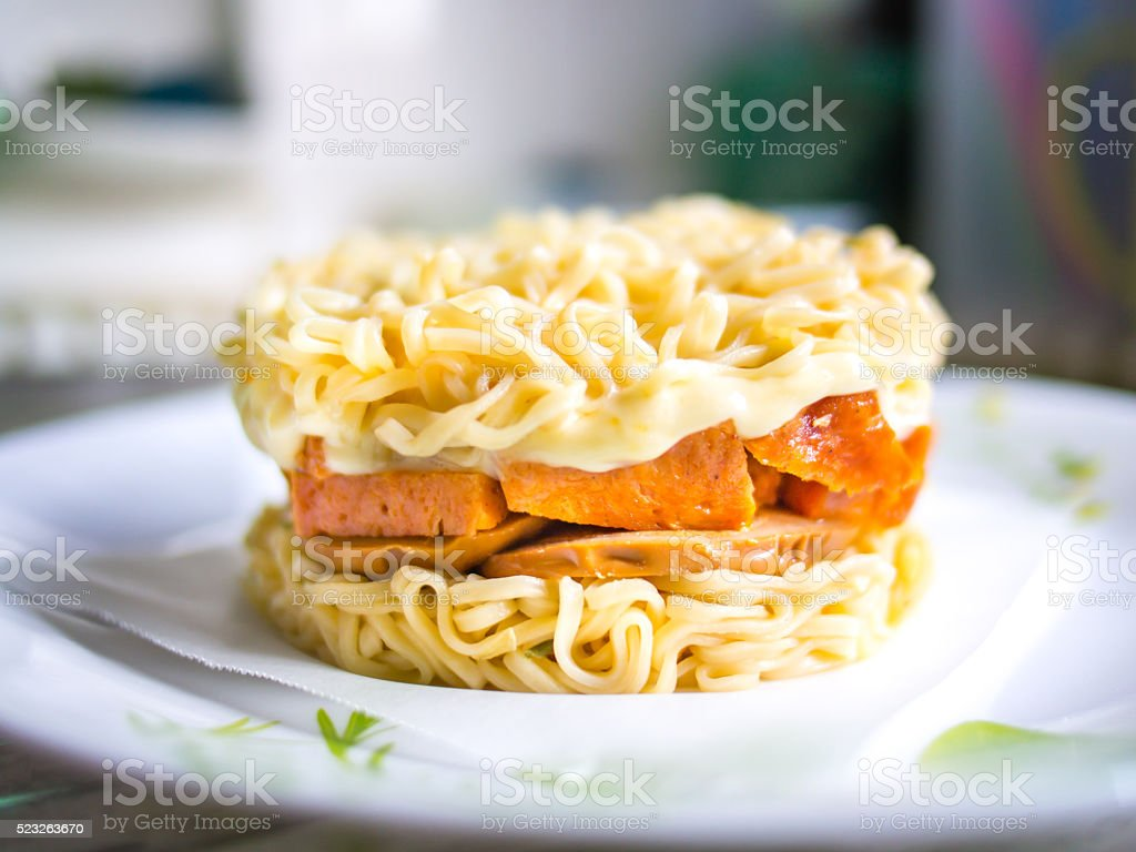 Instant Ramen Burger with Cheese & Spam stock photo