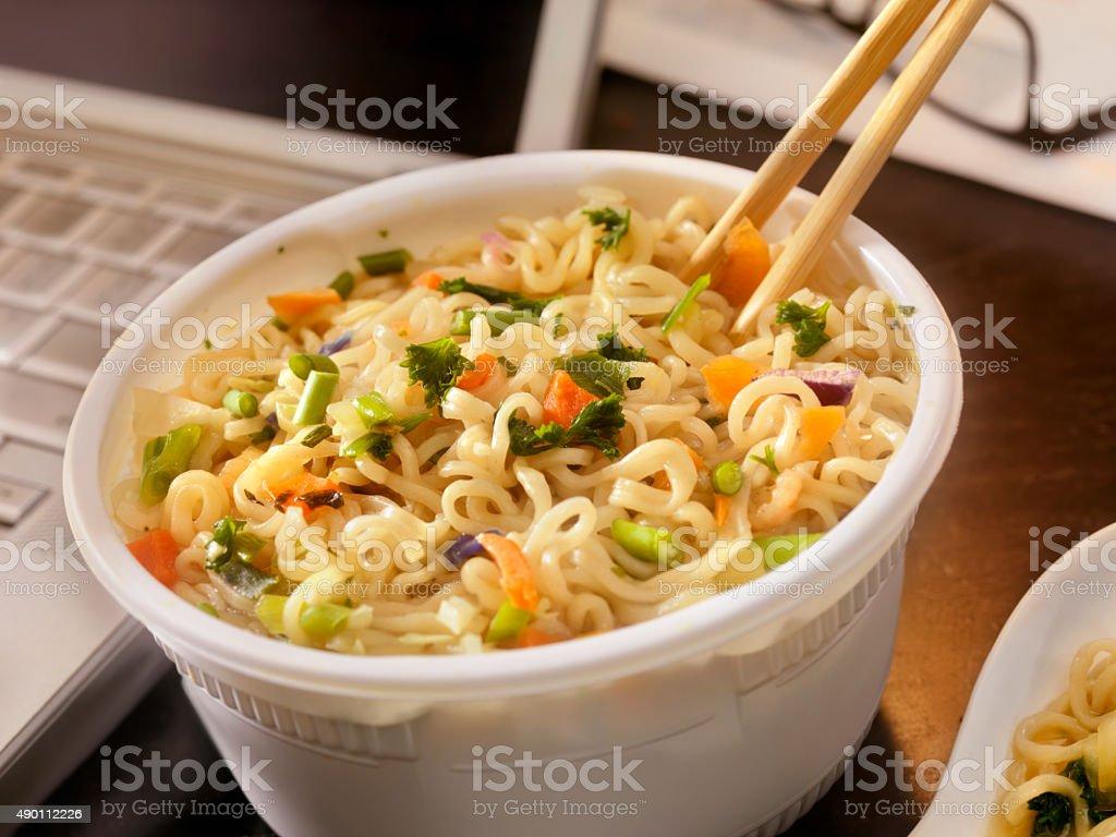 Instant Udon Noodle Soup at your Desk stock photo
