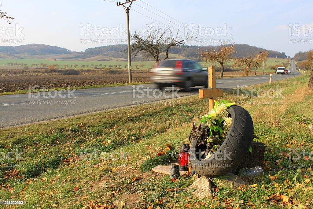 instead of a fatal traffic accident, speeding kills stock photo