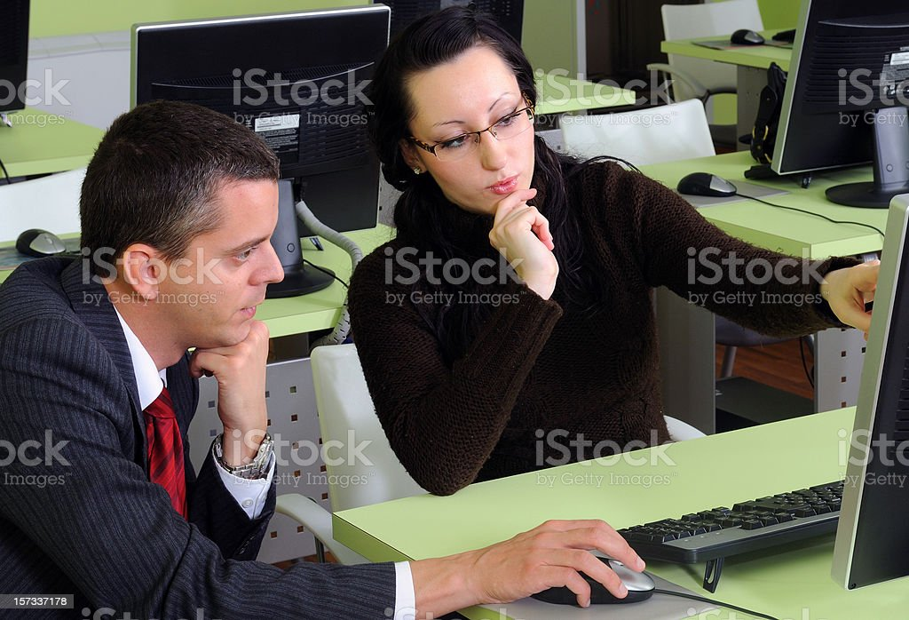 Instructor and student royalty-free stock photo
