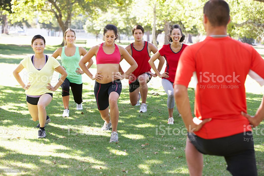 Instructor Running Fitness Boot Camp royalty-free stock photo