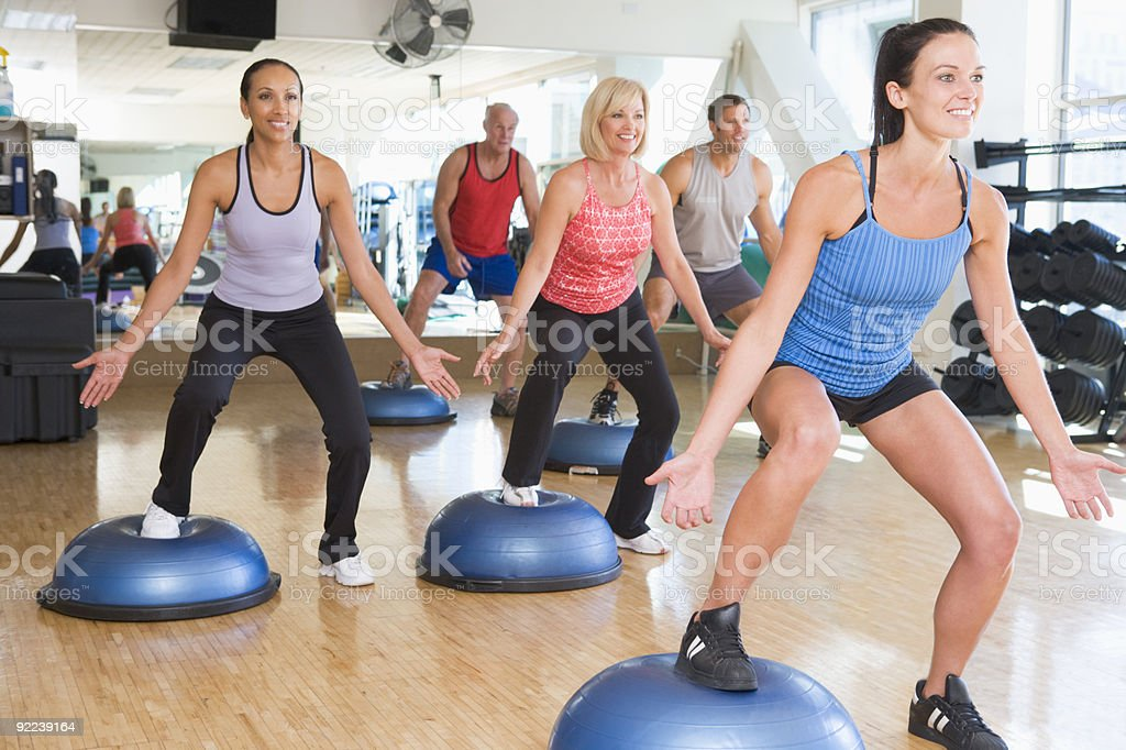 Instructor Taking Exercise Class stock photo