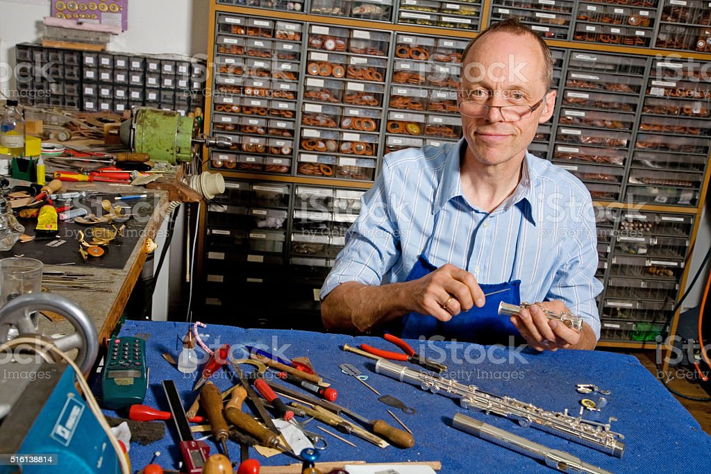 Instrument maker serie stock photo