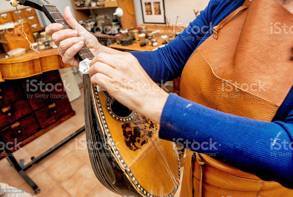 Instrument Makers in Workshop stock photo