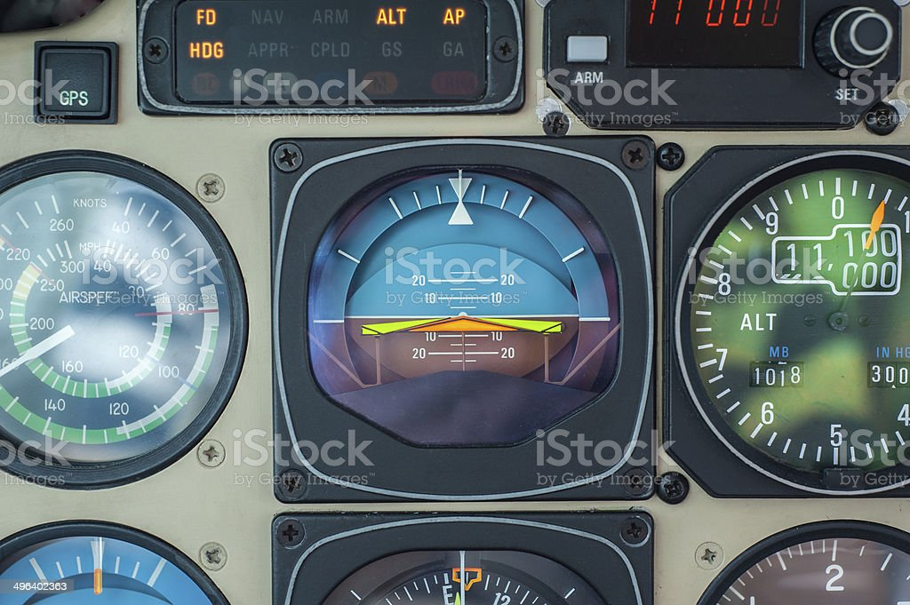 Instrument panel of private plane stock photo