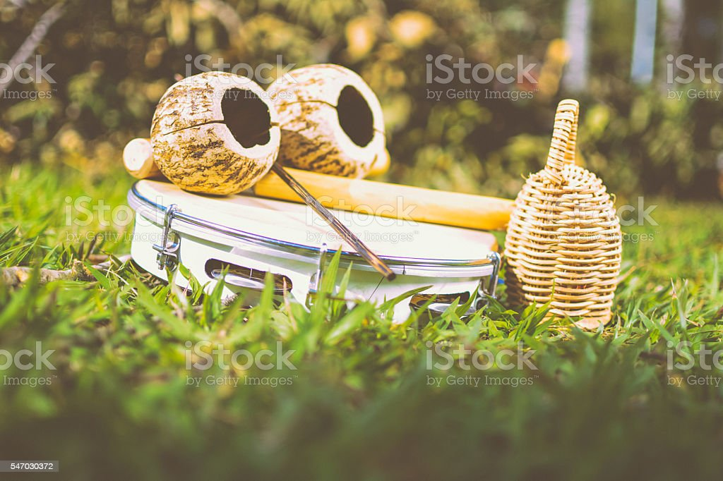 instruments, caxixi, tambourine stock photo