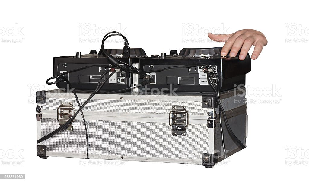 instruments DJ at a party stock photo