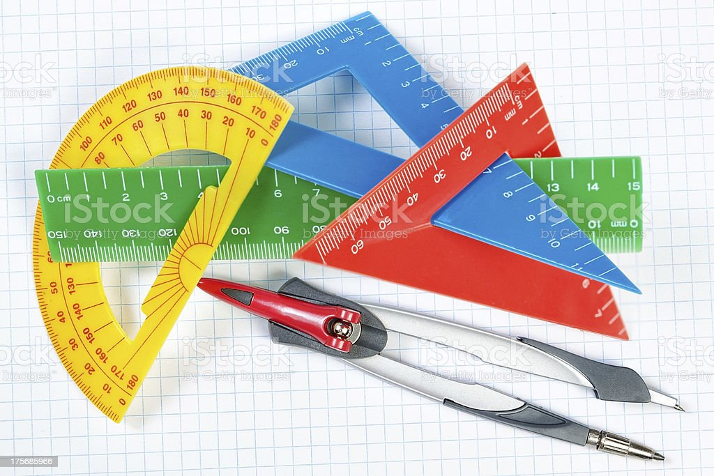 Instruments for drawing in school. Ruler and compass. Close-up. stock photo