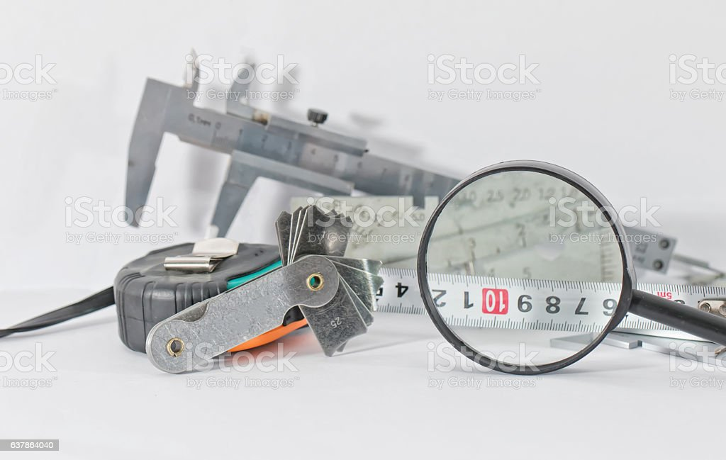 instruments necessary for conducting visual and measuring contro stock photo