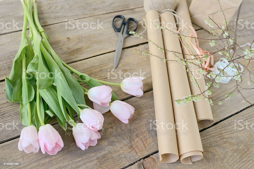 Instruments of floral designer stock photo