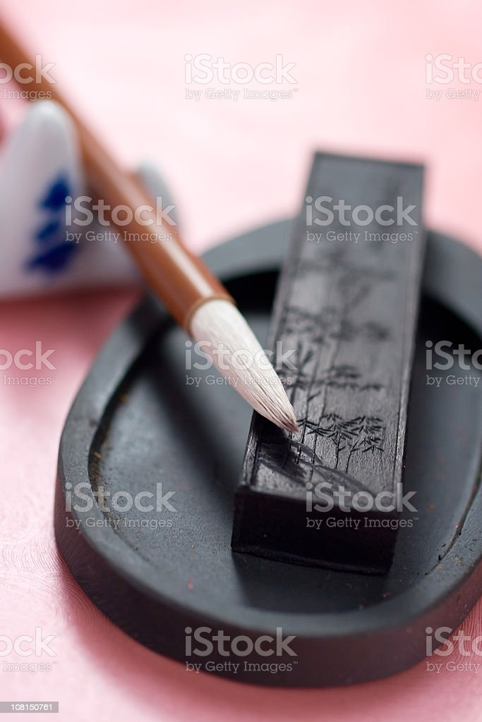Instruments of Sumi-e royalty-free stock photo