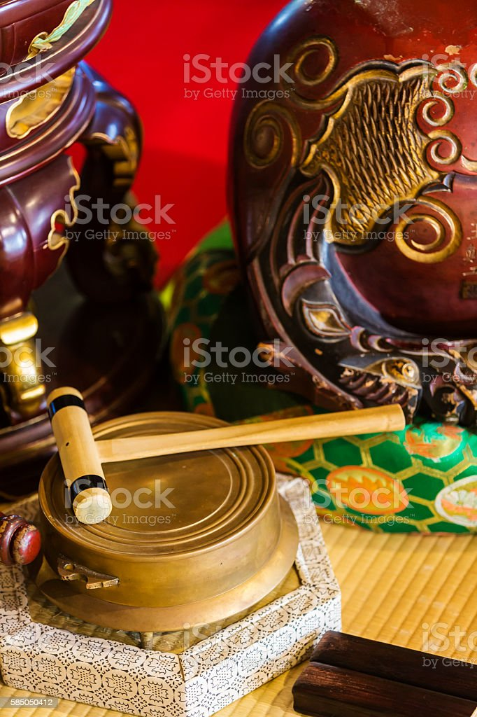 Instruments Used by Pray Buddhist Monks stock photo