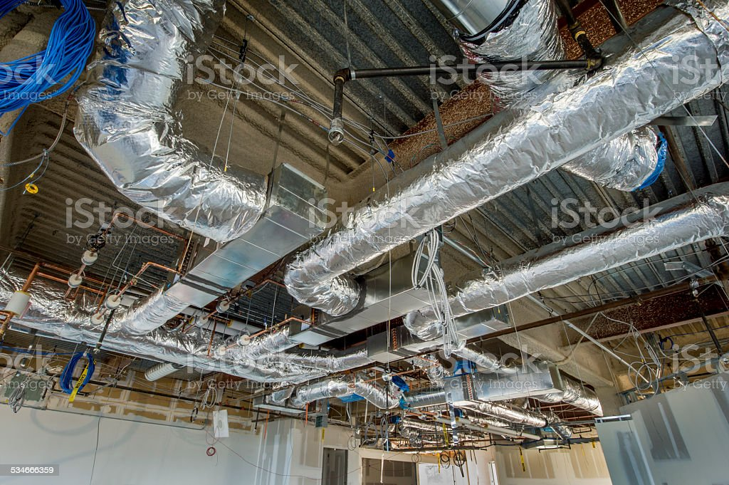 Insulated Air Duct Installation stock photo
