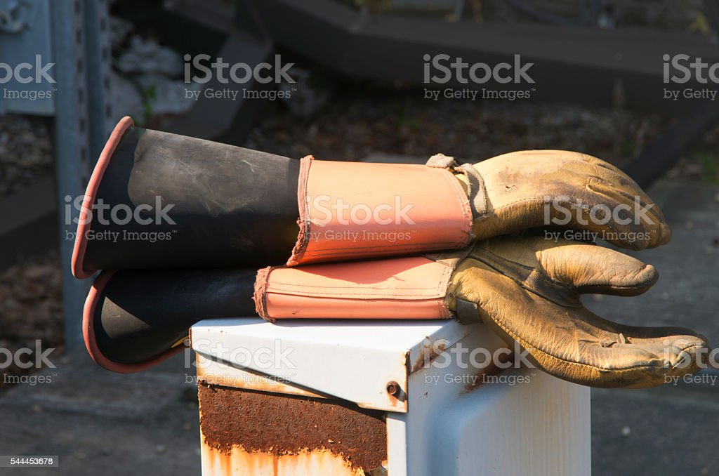 Insulated Electrical Gloves stock photo