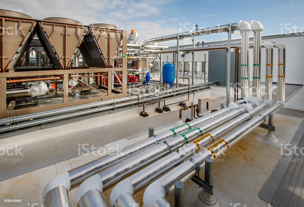 Insulated Plumbing for Rooftop HVAC System stock photo