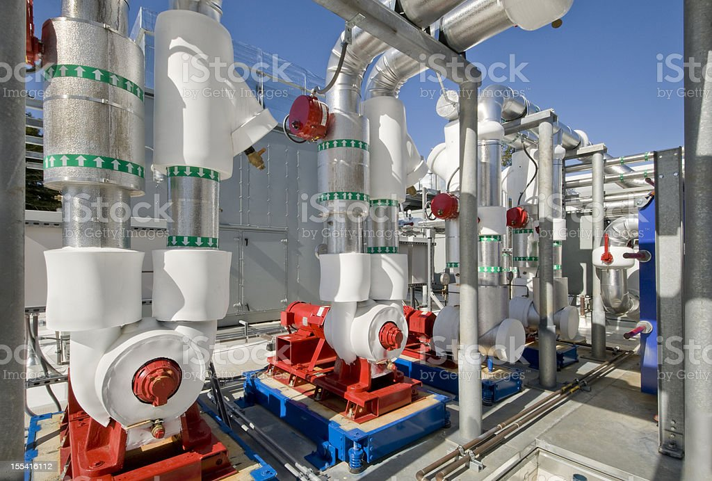 Insulated Pumps for HVAC System stock photo
