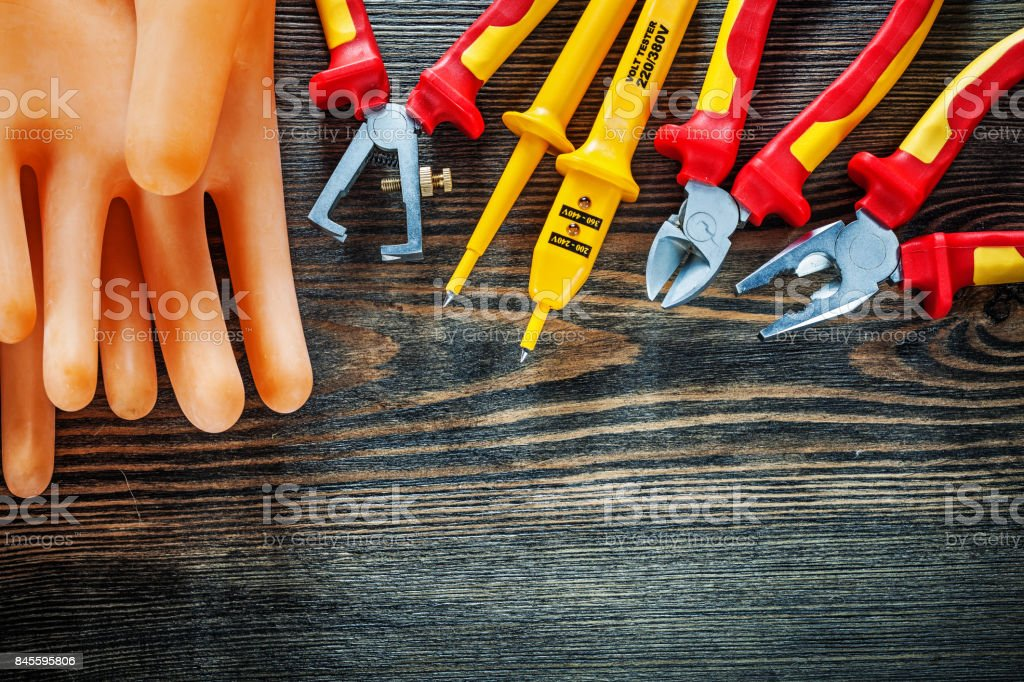 Insulating gloves electric tester insulation strippers cutting n stock photo