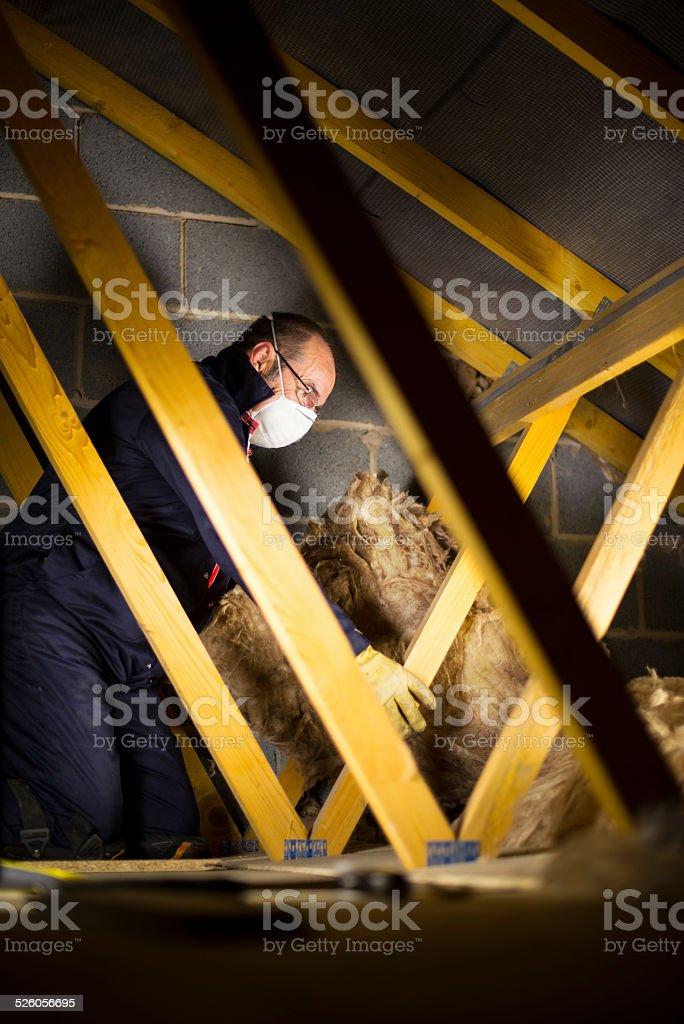 insulating loft/attic stock photo
