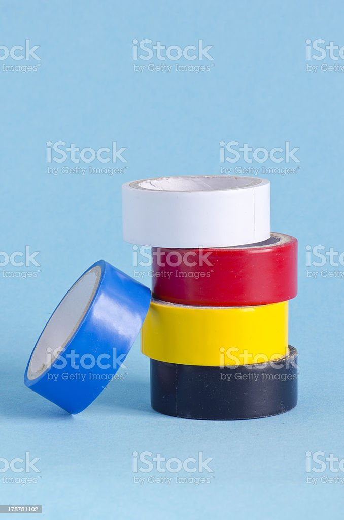 insulating tape on azure background royalty-free stock photo