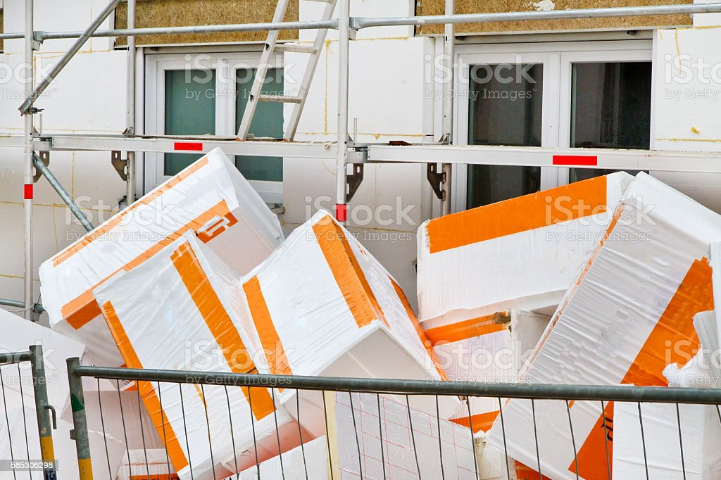 Insulation on a new house stock photo