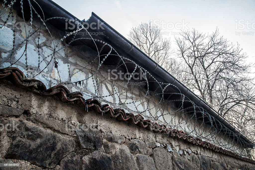 Insulation wire fence stock photo