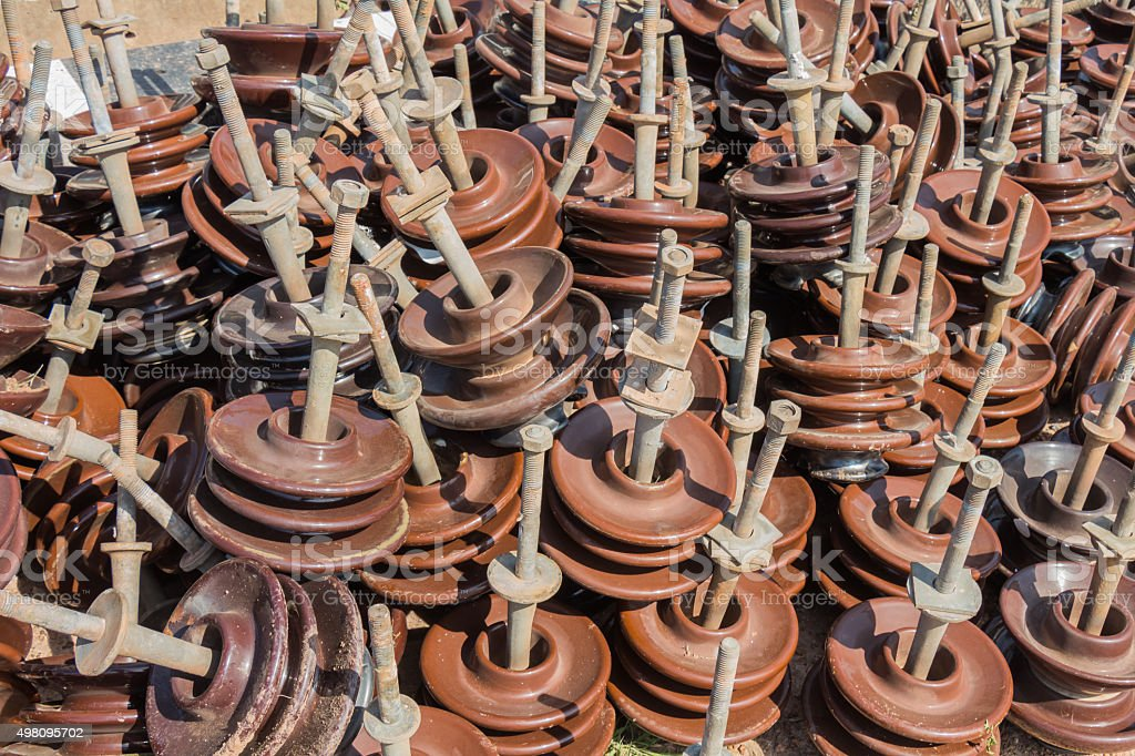 Insulators for use in high voltage 22 kV stock photo