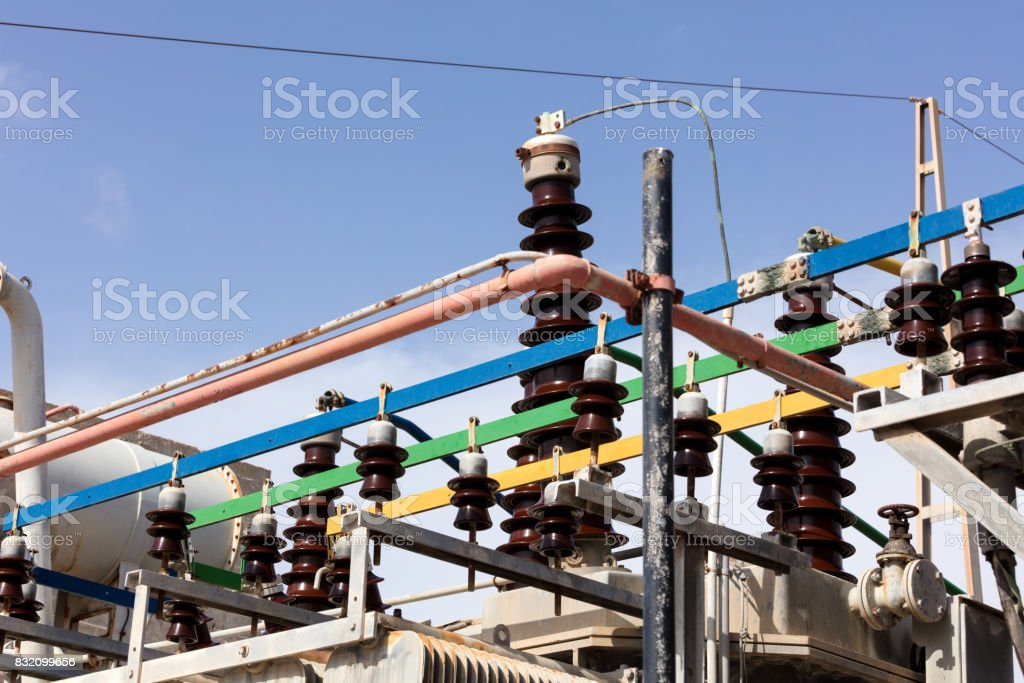 insulators in high voltage stock photo